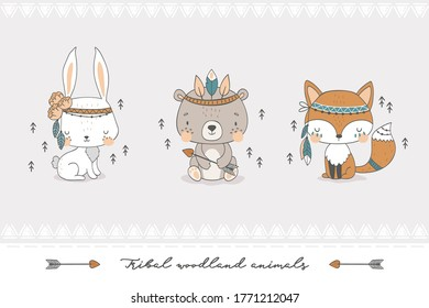 Tribal forest animal collection. Cute fox, bear, rabbit baby characters. Hand drawn cartoon icon design vector illustration.