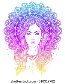 Tribal Fusion Boho Diva. Beautiful divine girl with ornate mandala-shaped halo, native American Indian feather headdress inspired. Adult anti-stress coloring book page. Hand drawn illustration.