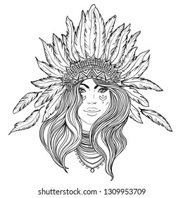 Tribal Fusion Boho Diva. Black and white illustration of Native American Indian girl in traditional feather headdress bonnet. Adult anti-stress coloring book page.