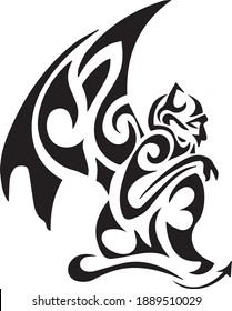 Tribal gargoyle tattoo. Vector illustration