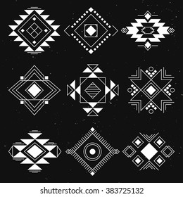 Tribal geometric elements collection. Ethnic collection symbol, Navajo elements for design. Vector set with tribal, Indian, Aztec, hipster, boho elements.