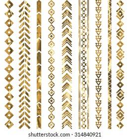 Tribal geometric gold pattern. Aztec and Navajo gold ornament. Tribal gold tattoo. Vector ink illustration