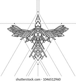 Tribal geometric raven tattoo, vector illustration