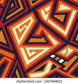 Tribal geometric seamless pattern with grunge effect.