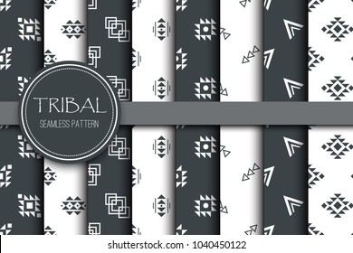 Tribal geometry seamless ethnic background stylish primitive geometric pattern trendy print modern wallpaper with grunge texture vector illustration. Monochrome tribal ornament fabric textile backdrop