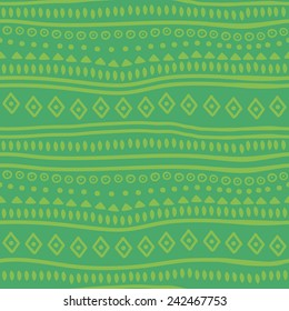 Tribal green vector pattern. Vector illustration. Abstract geometric pattern. Seamless pattern for fabric, paper and other printing and web projects.