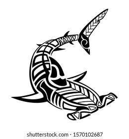 tribal hammerhead shark tattoo illustration,shark tattoo