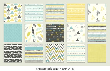 Tribal hand drawn background, ethnic pattern set. Boho seamless texture. Ethnic background with shape elements. Wallpaper for pattern fills, web page