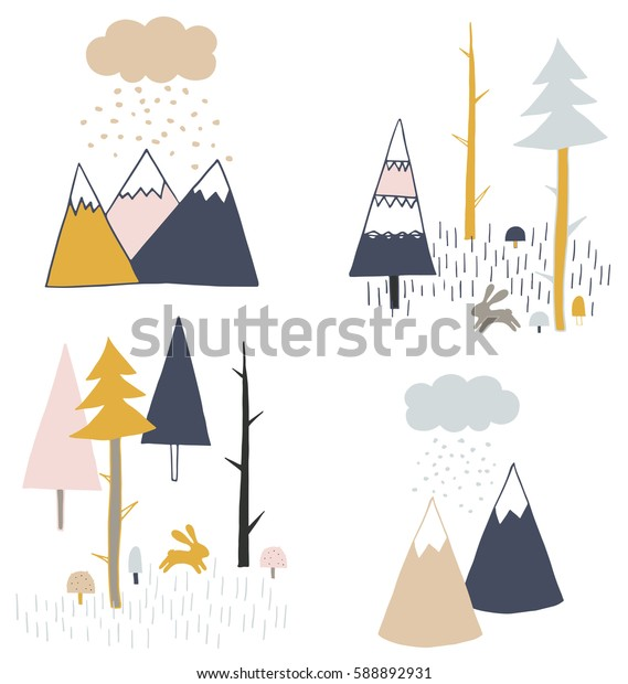 Tribal hand drawn illustration with mountains, pines and rabbit. Boho style vector seamless pattern for kids.