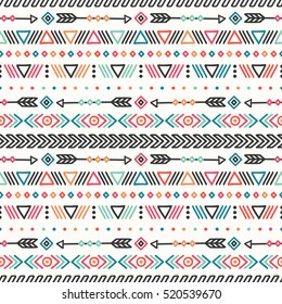 Tribal hand drawn line geometric mexican ethnic seamless pattern. Border. Wrapping paper. Print. Doodles. Vintage tiling. Handmade native vector illustration. Aztec background. Texture. Style