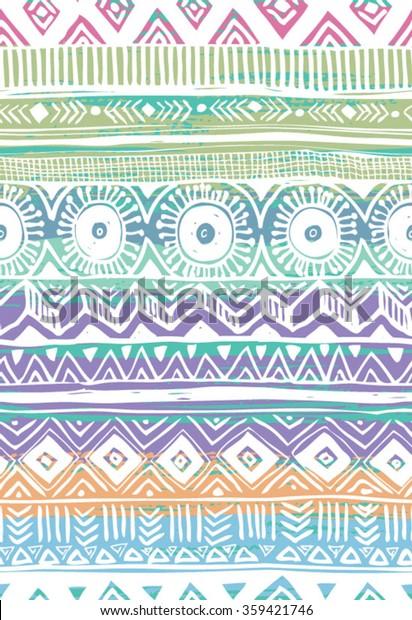 tribal hand drawn seamless pattern vector stock