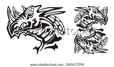 Tribal Horned Dragon Head Dragon Symbol Stock Vector Royalty Free