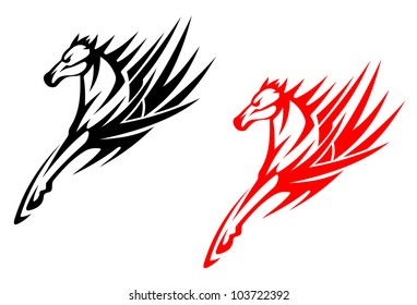 Tribal horses for tattoo design isolated on white background, such logo. Jpeg version also available in gallery