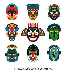 Tribal indian or african colorful masks set on white background. Vector illustration.
