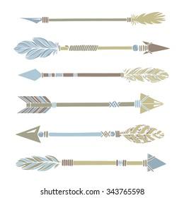 Tribal Indian arrow set. Colorful ethnic hand drawn vector illustration.