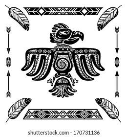 Tribal indian eagle tattoo vector illustration