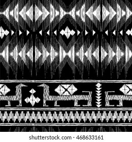 Tribal Indian Geometric and Animal Pattern. Vector Illustration. Seamless texture. Ethnic kilim ornamental style. Native american  border ornament. Background for paper and textile.