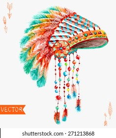 Tribal indian hat, watercolor background for beautiful design, Vector