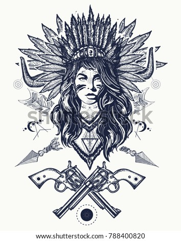 Tribal Indian Woman Guns Tattoo Tshirt Stock Vector Royalty Free