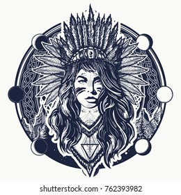 Tribal indian woman and mountains tattoo and t-shirt design. Ethnic girl warrior t-shirt design