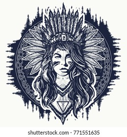 Navajo tattoo designs Southwestern Tribal Indian Woman Tattoo And Tshirt Design Ethnic Girl Warrior Shutterstock Navajo Tattoos Images Stock Photos Vectors Shutterstock