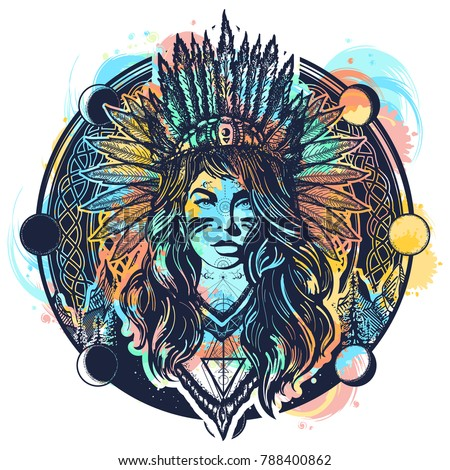 Tribal Indian Woman Tattoo Tshirt Design Stockvector Rechtenvrij