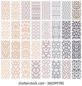 Tribal lace patterns in pastel colors. Vector illustration.