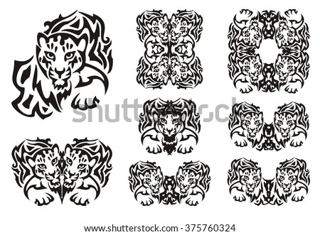 a98eeb66a Tribal leopard symbols. Set of the double flaming symbols of the head of a  young