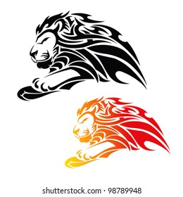 tribal lion in jump tattoo - vector illustration