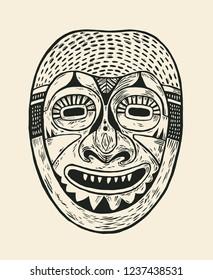 Tribal Mask Design. Drawing Style. Vector illustration.