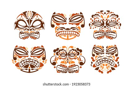 Tribal mask ethnic set. Polynesian colored patterns of faces illustration on white background. Vector illustration set of voodoo face icon.