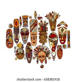 Tribal mask ethnic set, sketch for your design