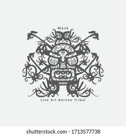 Tribal mask, ornamental elements set over white background