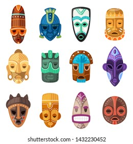 Tribal mask vector cartoon african face masque and masking ethnic culture in Africa illustration set of traditional masked symbol isolated on white background