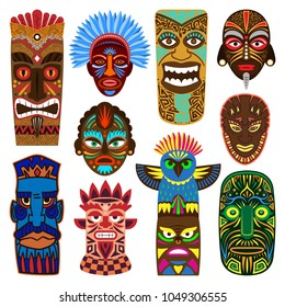 Tribal mask vector masking ethnic culture and aztec face masque illustration set of traditional aborigine masked symbol isolated on white background