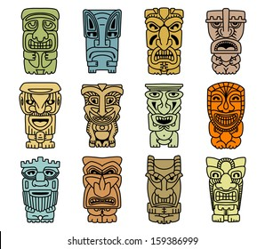 Tribal masks of idols and demons for religious or ethnic design. Jpeg version also available in gallery