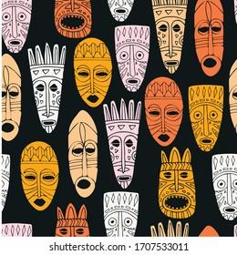 Tribal Masks Seamless Vector Pattern. Hand Drawn Illustration.