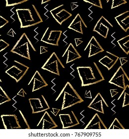 Tribal meander vector seamless pattern. Black geometric background. Abstract gold silver chalk shapes, lines, spiral triangles, squares, zigzag, doodle greek key ornament. Design for fabric, wallpaper