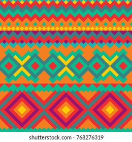 Tribal Mexican seamless pattern.