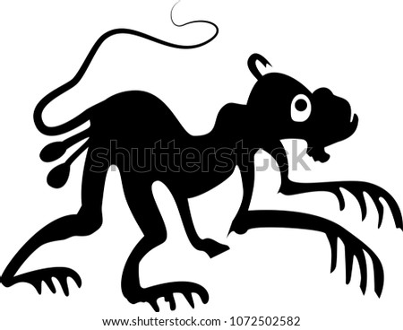 Tribal Monkey Tattoo Stock Vector Royalty Free 1072502582