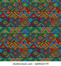 Tribal mosaic pattern, seamless vector illustration