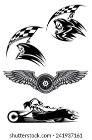 Tribal motocross mascot or tattoo design with skeleton on motorcycle with billowing flames, wings with wheel and demon in the hood holding checkered flag