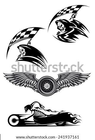 Tribal Motocross Mascot Tattoo Design Skeleton Image Vectorielle De