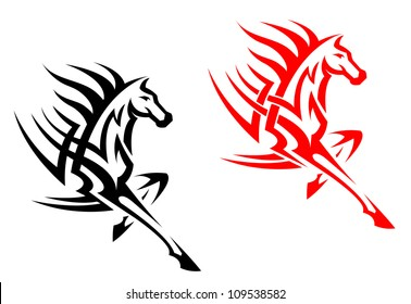 Tribal mustang stallion for mascot or tattoo design, such a logo. Jpeg version also available in gallery