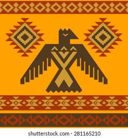 Tribal native American style eagle ornamental vector illustration