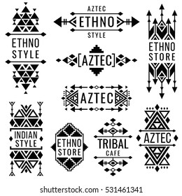 Tribal old mexican vector ornaments, indian nativity traditional logo
