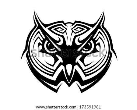 Tribal Owl Bird Tattoo Logo Mascot Stock Vector Royalty Free