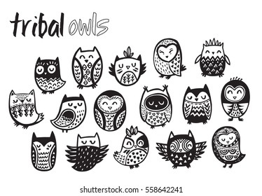 f5f1bdb097f55 Tribal owl birds set. Hand drawn owl collection with ornament. Art Coloring  book owl