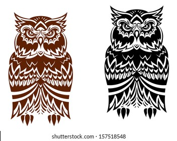 Tribal owl with decorative ornament isolated on white background or idea of logo. Jpeg version also available in gallery
