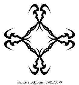 tribal pattern cross element template  tattoo vector art design, isolated illustration abstract pattern on white background, cross art pattern cut out.